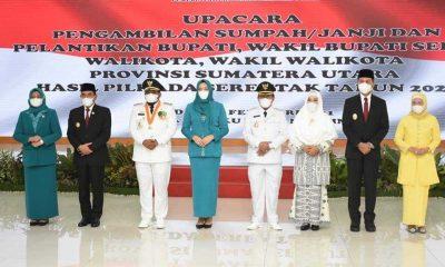 Gubsu Lantik Walikota dan Wakil Walikota Tanjungbalai 2021-2024