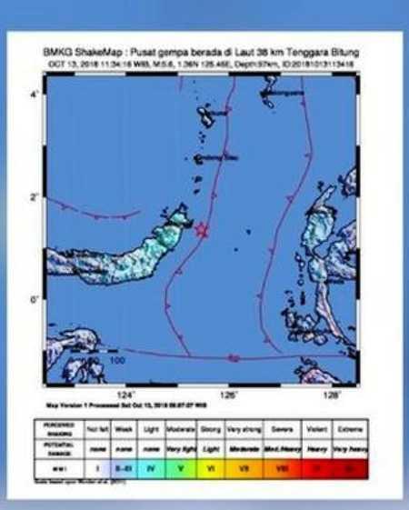 Gempa Tektonik Magnitudo 5,2 Guncang Bitung Sulut