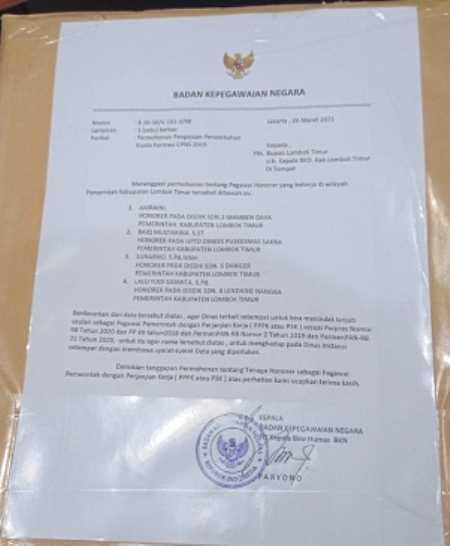 Pemkab Lombok Timur Dapat Kiriman Amplop Dari BKN Pusat Minta di Rekrut 28 Pegawai, Ternyata Surat BKN Gadungan
