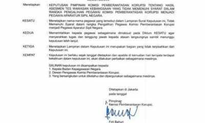 Beredar Surat Ketua KPK Minta 75 Pegawai Yang Tidak Lolos TWK Agar Lepas Tugas