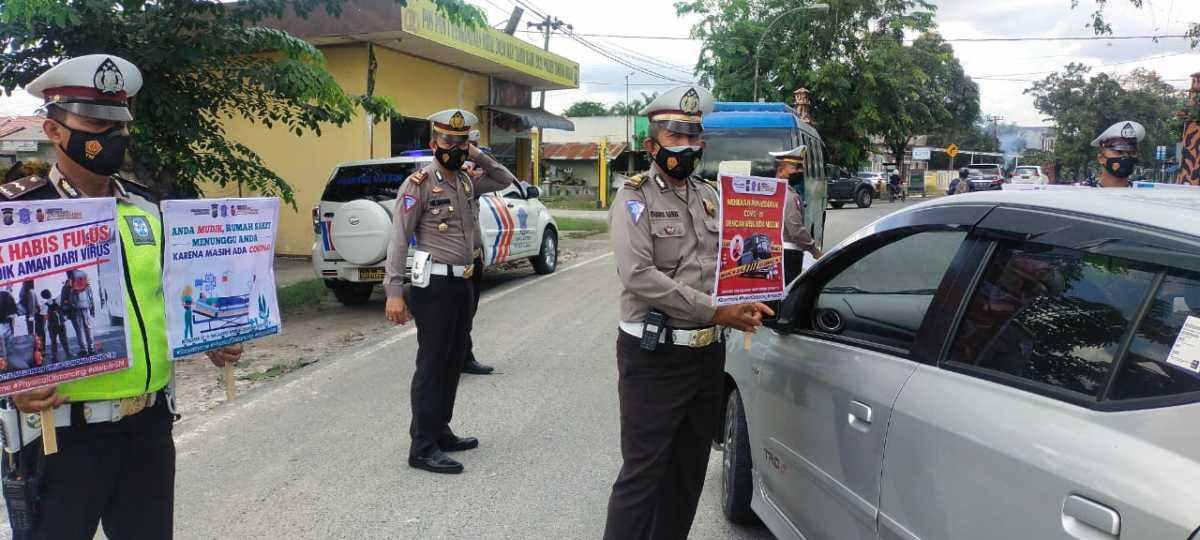 "Sat Lantas Polres Tanjungbalai Kampanyekaan ""Tunda Mudik Lebaran"""