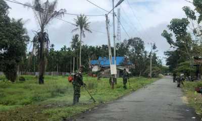 Wujudkan Kampung Sehat, Satgas Yonif 512/QY bersama masyarakat bersihkan Kampung