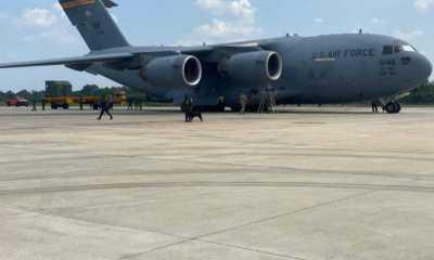 Pesawat US Air Force Mendarat di Pangkalan Udara Pekanbaru