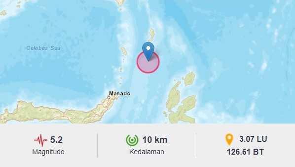 Gempa 5.2M Sempat Guncang Sulut, BMKG : Waspada Susulan