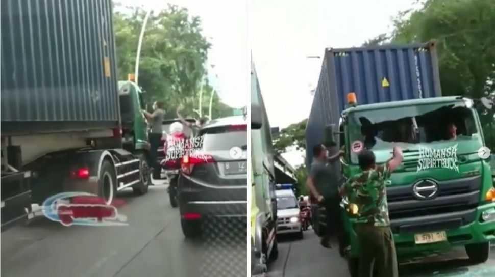Polisi Selidiki Aksi Sopir Pajero Ngamuk Pecahkan Kaca Kontainer