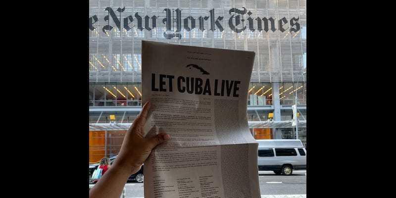 """Surat Terbuka """"Let Cuba Live"""" Untuk Joe Biden Diterbitkan NYT Satu Halaman Penuh"""