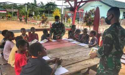 Pengabdian Tanpa Batas, Satgas Yonif 512 KerahkanPrajurit Jadi Guru Di Perbatasan RI-PNG