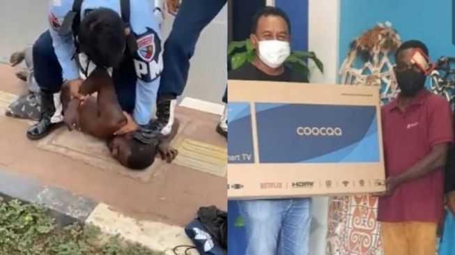 Usai Berdamai Dengan TNI AU Paska Diinjak Kepalanya, Steven di Berikan TV dan Babi