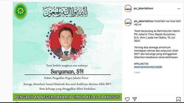 Suryaman, Anggota Majelis Hakim PN Jaktim yang Vonis HRS Empat Tahun Meninggal Dunia