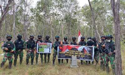 Satgas TNI Pastikan Patok Batas Negara di Perbatasan RI-PNG Aman Terjaga