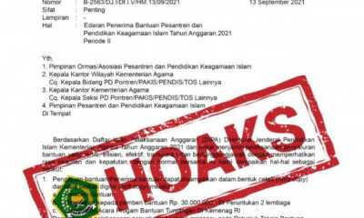 Surat Edaran Penerima Bantuan Ponpes yang Beredar Dipastikan Hoaks