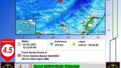 Pulau Banda Maluku Tengah Diguncang Gempa Magnitudo 4.5
